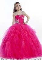 2020 Cristal Illusion à manches longues filles Pageant Robes Rachel Allan Volants Tulle fête d'anniversaire de robe de bal Fleur Filles Robes HY1142