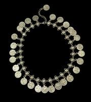 Blumen-Kind-Silbermünze Halskette Fußkettchen Set-Schmuck-Set Einstellbare Handgemachte Blumen-Design Boho Gypsy Beachy Ethnische Halskette Armband-Sets
