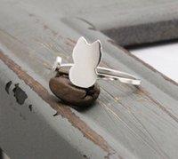 30PCS- R013 Золото Серебро Cute Cat Регулируемое кольцо Прекрасные кошки хвост кольца Простые Animal Kitty Кольца для женщин Ladies