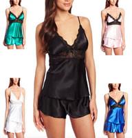 Al por mayor-Verano caliente Sexy pijama mujeres satén ropa de dormir  pantalones cortos y Top 2 piezas pijamas Set Inicio ropa de dormir ropa  femenina ... c19f45db6eff