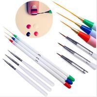 6 Unids Dibujo Fino Diseño del trazador de Líneas Consejos Nail Art Pen Brush Cepillo Salon DIY Gel UV Herramienta de Manicura