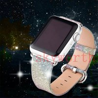 Luxury Glitter Bling Real Genuine Leather Watch Band Strap f...