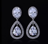 Wholesale Shiny Women Crystal Stud Earrings Tear Drops Rhine...