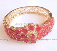 GH-004 Jewelry Mujer 14KT Gold Filled Pulsera Regalo Emerald Ruby / Emerald