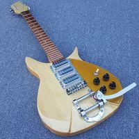 注文のJohn Lennon Birdseyeメープルナチュラル325エレクトリックギターの短縮長さ、大きいテールピース、ゴールドピックガード