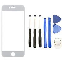 elma iPhone 6 6s 5 5C 5S 7 7P LCD Ön Sayısallaştırıcı Dokunmatik Ekran İçin Yedek Dış Cam Lens + Aracı Setleri + Yapışkan etiketler