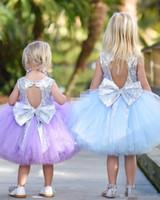 Robe de soirée de mariée courte courte mignonne Puffy tutu lilac menthe paillettes argent avec arc 2018 pas cher robes de filles de fleurs