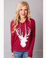 T-shirt a maniche lunghe con maniche lunghe da donna stile cervo stampato con cappuccio Auntumn Spring and Winter