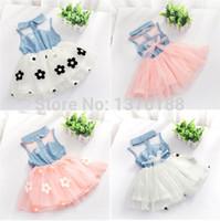 جديد الصيف طفل الفتيات الاطفال الأميرة من قطعة الدنيم اللباس الأزهار توتو اللباس الاطفال الملابس