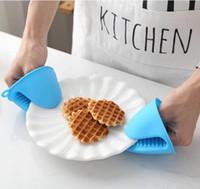 Kek Bakeware Isıya Dayanıklı Silikon Fırın Eldiveni Kısa Parmak El Klip Fırın Mitt Uygun Pot Tutucu