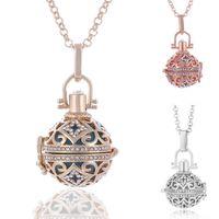 Diffusor Medaillon Halskette Frauen Mädchen Aromatherapie Anhänger Ätherisches Öl Halskette Höhlte Kristall Diffusor Halsketten 3 Farben