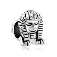 メタルスライダースペーサー大穴古代エジプトマイティファラオスフィンクスヨーロッパビーズフィットPandora Chamilia Biagi Charm Bracelet