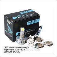 2015 New Motorcycle Motorbike Headlight Headlamp 12V 12-18W 6000K LED Bi xenon H4 H6 High/Low Conversion Kit Bulb