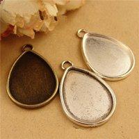 (50pieces / lot) Para caber 18 * 25 MM cabujón oval antiguo bronce / plata antigua / plata aleación de la vendimia ajustes colgante bandeja en blanco hm644