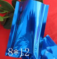 8 * 12 di alta classe blu 100 pz / lotto sigillo di calore opaco nero leggero a prova di alluminio sacchetto di alluminio sigillo di calore sacchetto di imballaggio cibo in polvere spezie sacchetto