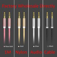 Нейлон аудио вспомогательный кабель 1 м 3.5 мм AUX расширение между мужчинами стерео аудио кабели для мобильного телефона PC MP3 наушники динамик