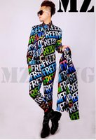 A male singer fashion color club guests Europe and the United States shows in 3 d rendering letters suit costumes. S - 6 xl