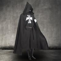 Männer Vintage mittelalterlichen Krieger Larp Cosplay Kostüm Templer Ritter schwarz Tunika / Kap Kapuzen Umhang Robe mit Gürtel