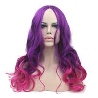 hanzi_beauty Lange Wellenförmige Synthetische Haar Hochtemperaturfaser Lila Zu Rosa Perücken frauen Party Cosplay Perücke Haarteil