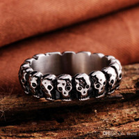 جودة عالية الرجال بالغت الرجعية الشرير الجمجمة حلقة الفولاذ الصلب الدائري التيتانيوم الصلب والمجوهرات مصنعين شحن مجاني