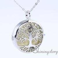 شجرة الحياة الفضة المنجد قلادة للزيوت العطرية المجوهرات والناشرون قلادة المنجد قلادة المجوهرات المنجد قلادة صغيرة