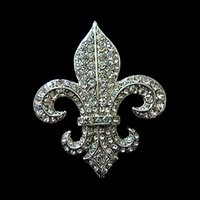 Top Gioielli di moda 2 pollici rodio argento Vintage Style Fleur De Lis strass Diamante Partito spilla con un Pin