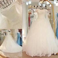 2018 nuevo diseñador de calidad superior Bateau mangas largas vestidos de novia vestido de gala precioso fuera del hombro vestidos de novia
