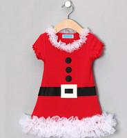 Nuevo 2014 Vestido de Navidad de Navidad bebé Vestido de Navidad Disfraces Cinturón de niña Botón de impresión Encaje Vestido infantil Santa Claus Vestido Manga corta Tutu
