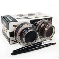 Am besten 2 in 1 Brown + Black Gel Eyeliner Make-up wasserdicht und wischfest Kosmetik Set Eye Liner Kit in Eye Liner Make-up