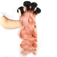 ELIBESS HAIR- 1B Pink Ombre 바디 웨이브 Brazilian Human Hair Weave 3 묶음 80g / piece Ombre 헤어 익스텐션