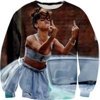 2014 New fashion Donna / Uomo divertente stampa Rihanna 3D Felpe FINGER Pullover tuta felpa antica Galaxy felpe top sport suits