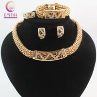 Neues Gold 18K überzog Österreich-Kristall Anhänger Halskette Ohrringe Armband Ring Brautschmuck Partei Luxus Schmuck