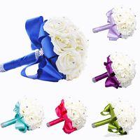 Yeni Gelin Buketi Düğün Dekorasyon Yapay Gelinlik Çiçek Kristal İpek Gül WF001 Kraliyet Mavi Nane Beyaz Yeşil Leylak Ucuz