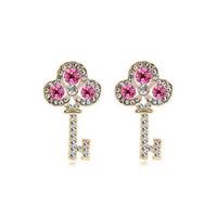 Ramontic 18kgp Key серьги для женщин лучший подарок 3 лист цветок серьги ювелирные изделия 8228