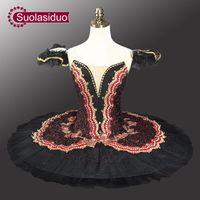 Costume de tutu de ballet classique de cygne noir rouge adulte à vendre Tutus de ballet noir de tutu de ballet professionnel rouge pour l'exécution SD0014