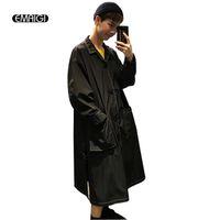 Hurtownie- Oversize White Black Men Kobiety Cienkie Trench Coat Moda Casual Male Loose Long Cardigan Winbreaker Jacket Płaszcz przeciwsłoneczny