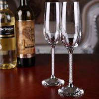 2ピース/セットアップウェディングやパーティー愛好家のためのカップル高品質のフルートシャンパンクリスタルシャンパングラスゴレットクリスタルガラス赤ワインゴブレットカップ