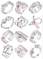 Plaqué 925 Sterling Silver Bague peut être ajusté Bague d'ouverture Verres de croix Squelette Human Squelette Fleur Beignely Bagues Mélanger 12 Style 12 pcs