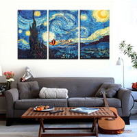 3 Piece Wall Canvas Masters Starry Night Vincent Van Gogh Pr...