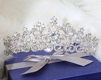 Brillant Perles Cristaux De Mariage Couronnes De Mariée Cristal Voile Tiara Couronne Bandeau Cheveux Accessoires Partie De Mariage Tiara