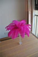 12-14 дюймов ярко-розовый страусиное перо шлейфы для свадьбы центральным Рождество перо декор свадебный стол декор партии декор
