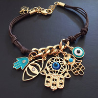 "Fashion "" Evil Eye"" HAMSA Leather Cord Bracelets Ka..."