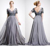 Elie Saab Vintage Mutter der Brautkleider 2019 A Line V-Ausschnitt Applikationen Chiffon Plus Size Abendkleid Backless Grey Mutter Abendkleider