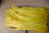 الحرة الشحن 100 جهاز كمبيوتر شخصى / الكثير 12-14inch زاهية صفراء الديك الديك الذيل ريشة فضفاض للأزياء حزب ديكور