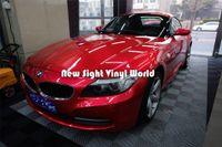 Yüksek Kaliteli Parlak Kırmızı Şeker Metalik Vinil Wrap Parlak Şeker Metalik Kırmızı Wrap Kabarcık Araba Sarar için Ücretsiz