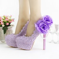 2019 Romantic Purple Super High Heel Wedding Shoes Beautiful...