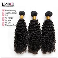 3 unids Lote 8-30 pulgadas Euroasiáticos Kinky Curly Virginal GRADO 7A Sin procesar Eurasian Human Hair Weages Poders Natural Black Extensions Dyable