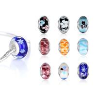 Al por mayor-venta al por mayor de estilo europeo de plata cuentas de cristal de Murano que hace la joyería para collar de pulseras DIY colores mezclados a granel 50pcs / lot