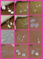12 estilos 925 Sterling Silver Fashion Earrings + Necklace Jewelry Set