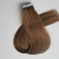 50g 20pcs Tape in Hair Extensions Colle Peau De Colle 18 20 22 24 pouces # 8 / Cheveux Indiens Brésiliens Brun Clair